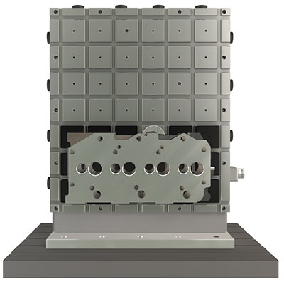 EPCube clamping a engine block for machining